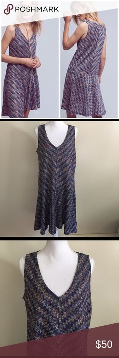 Anthropologie Maeve Chevron Festival Knit Dress L Fabulous chevron print knit dress from Anthropologie brand Maeve in a size large! This dress is new without tags - it is in perfect condition with no issues to note. Chevron print and detailing is reminiscent of Missoni. Measurements (taken flat): bust - 20 inches; waist - 21.5 inches; hips: 23 inches.                                            Acrylic, polyester; rayon lining A-line silhouette Flounce hem detail Pullover styling Hand wash…