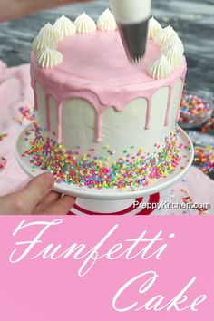 How to make a funfetti cake then decorate it with frosting and drips preppykitchen funfetti cake howto cakedecorating desserts bestcakes Funfetti Kuchen, Funfetti Cake, Dessert Party, Dessert Blog, Savoury Baking, Savoury Cake, Food Cakes, Cupcake Cakes, Donut Cakes