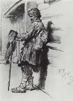 A beggar with a bag - Ilya Repin (1844 – 1930, Ukrainian-born Russian artist).