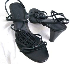 Talbots Collection Cut Out Leather Sandals Strappy Heel Size 9.5 M Made In Spain #Talbots #AnkleStrap #Casual