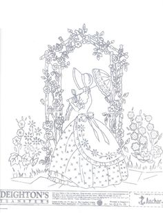 Crinoline Lady embroidery transfer original Deighton's 0214A