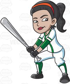 A female baseball player preparing to hit a ball with a bat #cartoon #clipart #vector #vectortoons #stockimage #stockart #art