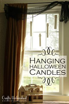 Floating Halloween Candles - use an empty cardboard tube and flickering battery-operated tea lights.  Hang w/ fishing line.