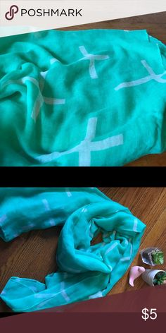 Rue 21 Mint and white cross scarf This is a lightweight scarf perfect for spring or summer. Mint green color with white crosses. Perfect condition. Approximately 3' by 6'. Large and perfect for styling lots of different ways. Rue 21 Accessories Scarves & Wraps
