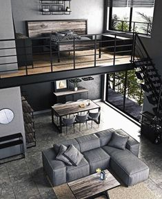 Loft Interior Design, Loft Design, Tiny House Design, Loft Style Homes, Loft Apartment Decorating, Industrial Home Design, Industrial Homes, Loft Interiors, Cool Apartments