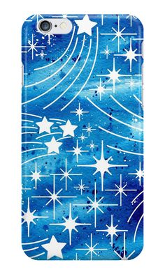 """""""Watercolor night sky with stars"""" iPhone Cases & Skins by natakuprova 