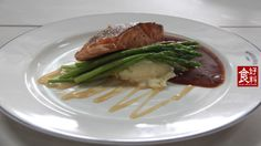 Pan Seared Salmon served with Asparagus and Whip Potato