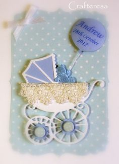 PERSONALISED New BABY Card HANDMADE Pram with lace Congratulations Birth. Christening or Baptism Gingham or dots. £3.99, via Etsy. 28th October, New Baby Cards, Baby Shower Cards, Baby Party, Baby Crafts, Kids Cards, Stampin Up Cards, Baby Ideas, Paper Cutting