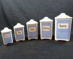 Série de 5 Pots à épices en Faience Ditmar Urbach mi-20ème