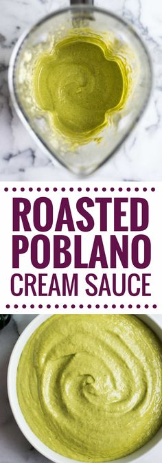 A Mexican favorite, this Easy Roasted Poblano Cream Sauce is loaded with flavor and goes well on tacos, burritos, enchiladas and more! (gluten free) via @isabeleats