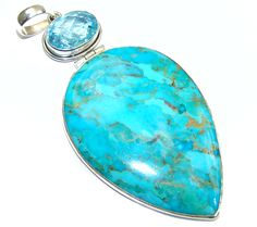 $195.15 Truly+Large!+AAA++Sleeping+Beauty+Turquoise+with+Copper+veins+Sterling+Silver+Pendant at www.SilverRushStyle.com #pendant #handmade #jewelry #silver #turquoise