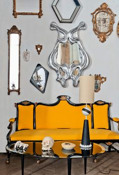 Beautiful yellow chairs with scattered frames  accessed 10.15.13 11.51