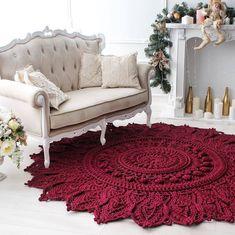 Big crochet rug round area rug 118 in doily rug yarn lace mat cottage nursery carpet rustic floor decor by lacemats Big crochet rug round area rug 115 in doily rug yarn laceHardwood Flooring Trim Ideas, Laminate Hardwood Flooring Ideas and Pics of Living Crochet Doily Rug, Crochet Carpet, Crochet Rug Patterns, Crochet Mandala Pattern, Crochet Home, Crochet Crafts, Diy Carpet, Rugs On Carpet, Carpet Ideas