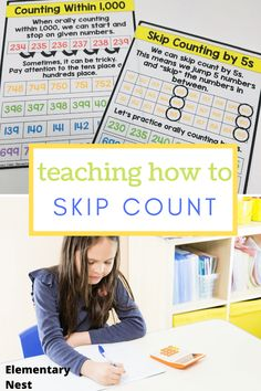 Learn more about teaching skip counting in this grade math unit. There are anchor charts, activities, and other strategies to help students learn how to fluently skip count by various numbers within Skip Counting Activities, Place Value Activities, Math Activities, Teaching Second Grade, Second Grade Math, Teaching Place Values, Types Of Learners, Math Writing, Common Core Math Standards