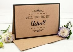 Will You Be My Usher Card - Kraft Rustic by norma&dorothy.  A great way to ask the boys in your life to be apart of your big day! This card features