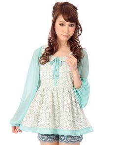 シフォン×レースペプラム|トップス | 渋谷109で人気のガーリーファッション リズリサ公式通販