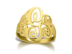 Script Monogram Ring Personalized Gold Plated by bestnamenecklace, $74.99