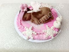 Baby Angel on a Pink Blanket Cake Topper Butterflies Wings Ready for your BABY SHOWER or any Celebration