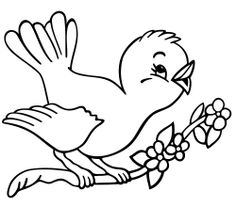 Spring Coloring Pages for Preschool | Spring Bird Coloring Book Page and Spring Song | Kiboomu Worksheets