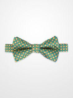 Lord West Green & Yellow Bow Tie #menswear #mens #dapper #fashion #formalwear #tuxedo #wedding #prom #party #suit #suitandtie #dot #polkadot #geometric #pattern