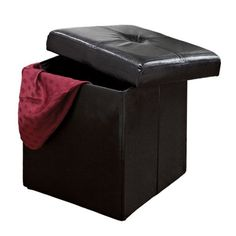 Kennedy Home Collection Folding Storage Ottoman (Black) (633125006253) Add seating and storage to any room with this Kennedy Home Collection ottoman. Featuring a removable top, this ottoman holds blankets, toys, books and more. Collapsible design folds flat for convenient storage. Durable construction ensures lasting use. Details: 15H x 15W x 15D Faux leather Wipe clean Color: Black. Gender: Unisex. Age Group: Adult. Material: Faux Leather.