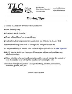 TLC Ladies - Moving Tips - Senior Move Manager