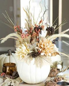 White Pumpkin Vase for Thanksgiving