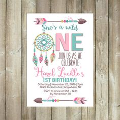 Wild One Birthday Invitation Boho Girls by FavoriteThingsDesign