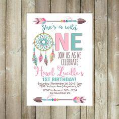 Wild One Birthday Invitation Boho Girls by FavoriteThingsDesign