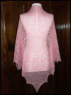"""""""Fairy Wings"""" knit lace shawl in wool/silk lace weight yarn (pattern by Renee Leverington)"""