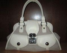 * * * DKNY Tasche hellbeige Logostoff mit creme Leder * * *   eBay Clutch, Logos, Creme, Beige, Ebay, Fashion, Clothing Accessories, Hand Bags, Leather