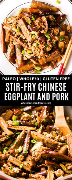 This Chinese eggplant and pork mince recipe is quick and easy for a flavorful weeknight meal! It's the perfect paleo and Whole30 Chinese food when you want a healthier alternative to takeout. #betterthantakeout #whole30 #paleo #paleochinesefood #whole30chinesefood #glutenfreechinese #chineseeggplant Gluten Free Recipes For Dinner, Whole 30 Recipes, Dairy Free Recipes, Paleo Recipes, Whole Food Recipes, Dinner Recipes, Paleo Dinner, Dinner Dishes, Food Dishes