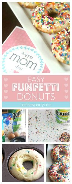 Funfetti cake mix donuts are a fantastic way to surprise Mom on Mother's Day! They're simple to make, and don't worry about cleanup if you've got @Bounty. #quickerpickerupper #ad