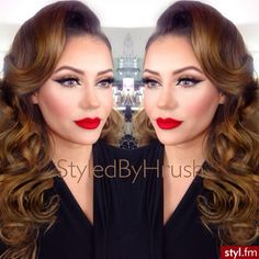 Glamourous Evening make-up, chic red lips,seduction makeup ideas for a date
