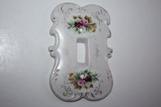Vintage Porcelain Floral Shabby Cottage Switch Plate Cover/Arnart Creations Switch Plate Cover/Ornate Ceramic Switch Plate Cover Flowers by DebiLynneVintage on Etsy