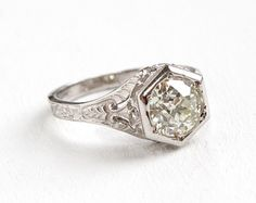 Antique 14k White Gold 1.5 Carat Old European Diamond Filigree Engagement Ring - 1920s Art Deco Floral Wedding Fine Jewelry EGL Certified