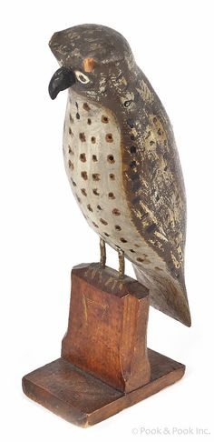 """Pook & Pook. October 11th & 12th 2013. Lot 532.  Estimated: $300 - $600. Realized Price: $652. Carved and painted owl, ca. 1900, 8 1/4"""" h."""
