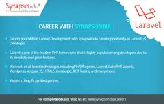 Groom your skills in Laravel Development with SynapseIndia career opportunity as Laravel Developer.   Take a look at: http://synapseindia-career.weebly.com/blog/synapseindia-career-be-a-part-of-rewarding-work-culture