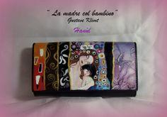 portafogli in pelle#portafogli dipinti a mano#portafogli dipinti#le tre età della donna#klimt#