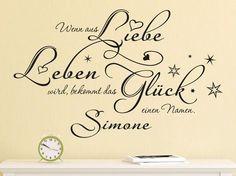 Wenn aus Liebe Leben wird, bekommt das Glück einen Namen…  Mit diesem schönen Spruch fürs Babyzimmer sorgen Sie für eine gemütliche Atmosphäre. Das Wandtattoo verbindet Liebe, Leben und Glück....  #Wandtattoo_Babyzimmer
