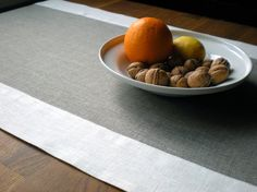 Table Runner Natural Linen Runner  Gray And by LinenLifeIdeas, $31.00