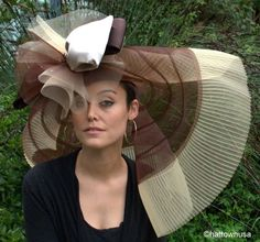 NEW Womens Kentucky Derby Hat Huge Wide Brim Off the Face Brown Tan
