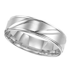 mens 60mm comfort fit wedding band in 14k white gold - Zales Mens Wedding Rings