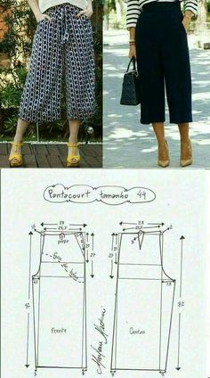 FREE PATTERN ALERT: Pants and Skirts Sewing Tutorials - On the Cutting Floor: Printable pdf sewing patterns and tutorials for women Dress Sewing Patterns, Sewing Patterns Free, Sewing Tutorials, Clothing Patterns, Shirt Patterns, Pattern Sewing, Pattern Drafting, Sewing Projects, Sewing Pants