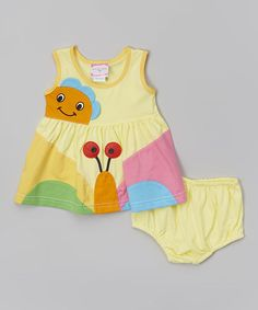 Loving this Yellow & Orange Butterfly Dress & Diaper Cover - Infant on #zulily! #zulilyfinds