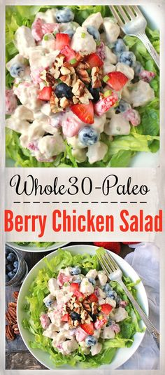 Paleo Whole30 Berry Chicken Salad- easy, healthy, and delicious! Gluten free, dairy free, and low FODMAP. A great summer lunch.