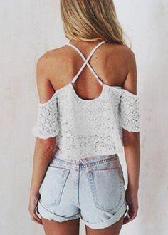 cold shoulder top + denim shorts