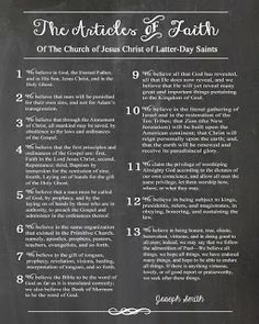 Free Printable The 13 Articles of Faith chalkboard lds