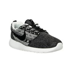 Nike Women's Roshe One Winter Casual Shoes, Black ($80) ❤ liked on Polyvore featuring shoes, athletic shoes, black, retro shoes, running shoes, nike footwear, black shoes and nike