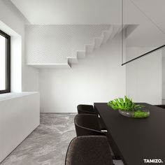 See-through Stairs at Single family house interior design, Pabianice. Japanese Interior Design, White Interior Design, Contemporary Interior, Interior Decorating, Interior Stairs, Interior Architecture, Tamizo Architects, Dining Room Table Chairs, Style Minimaliste